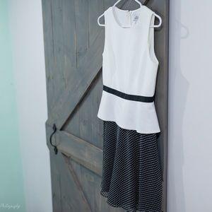 Belle Badgley Mischka Ivory Black Polka Dot Dress